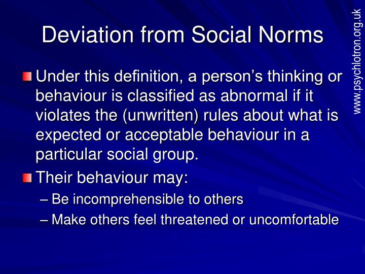 deviation from social norms essay What are the advantages and disadvantages of abiding by societal norms the benefits of deviation from the social norm outweigh both the costs of deviation.