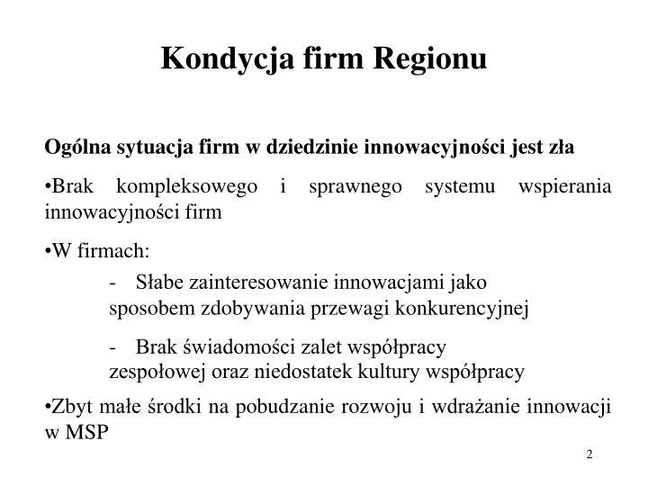 Kondycja firm regionu