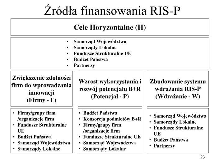 Źródła finansowania RIS-P