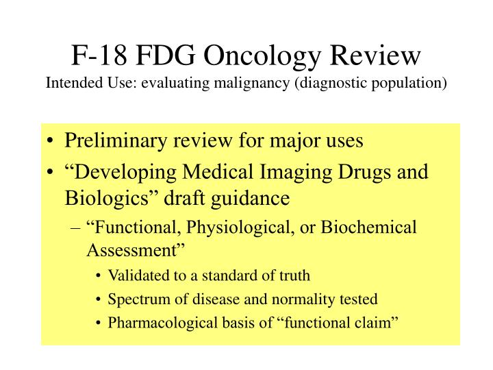 F-18 FDG Oncology Review