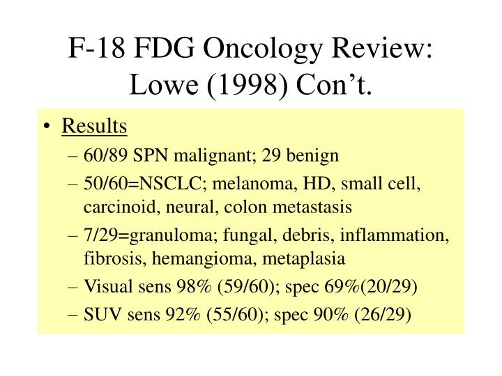 F-18 FDG Oncology Review: