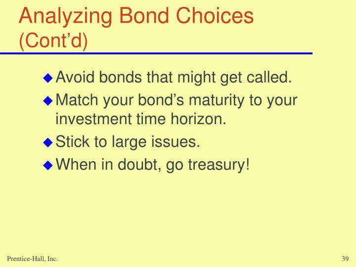 Analyzing Bond Choices