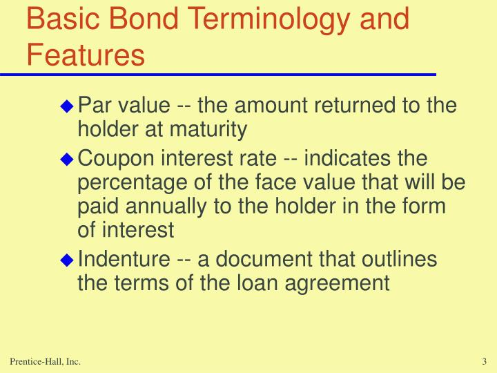 Basic bond terminology and features