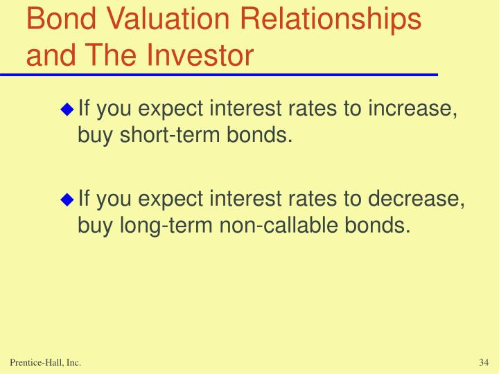 Bond Valuation Relationships and The Investor