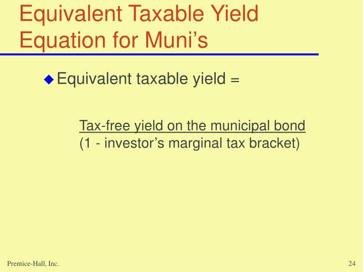 Equivalent Taxable Yield Equation for Muni's