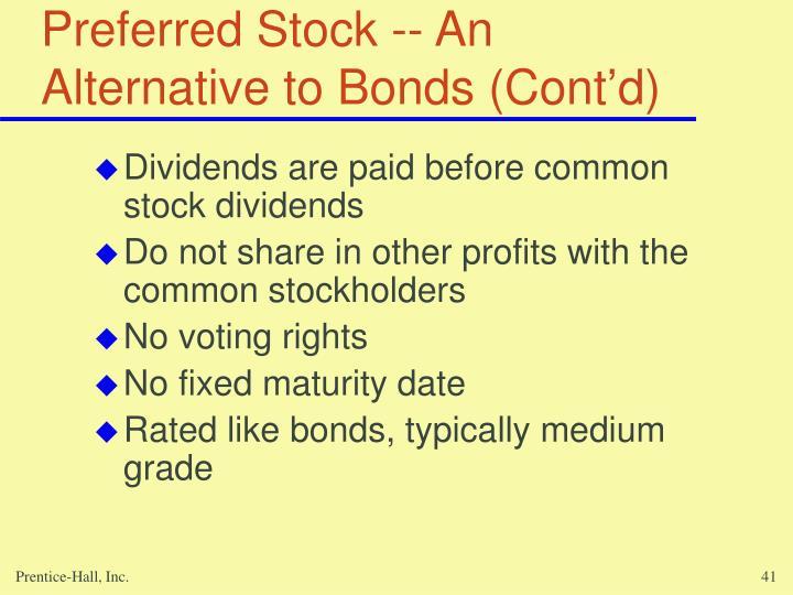 Preferred Stock -- An Alternative to Bonds (Cont'd)