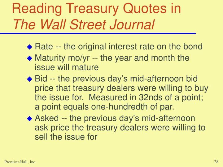 Reading Treasury Quotes in