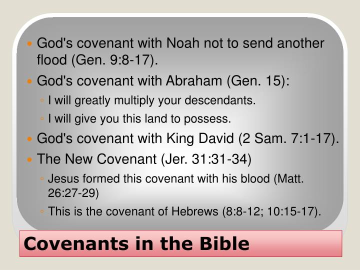God's covenant with Noah not to send another flood (Gen. 9:8-17).