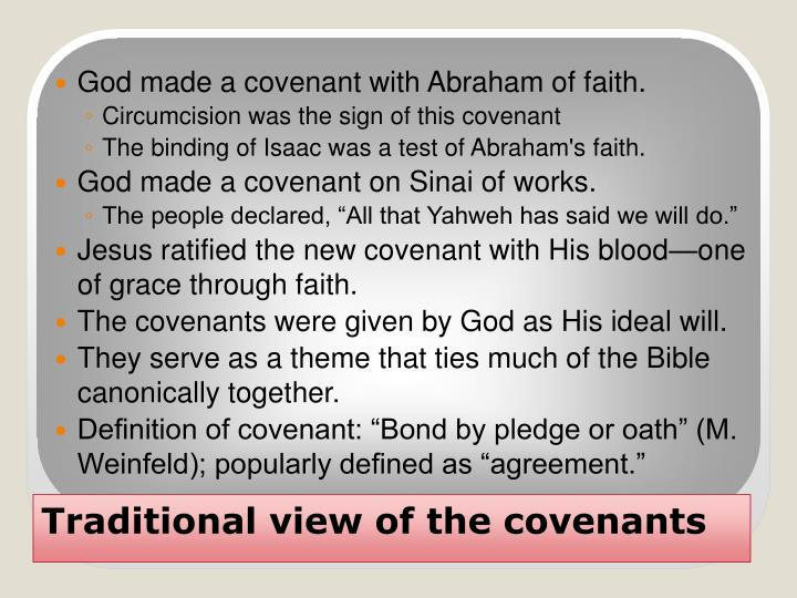 God made a covenant with Abraham of faith.
