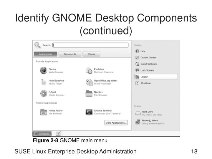 Identify GNOME Desktop Components (continued)