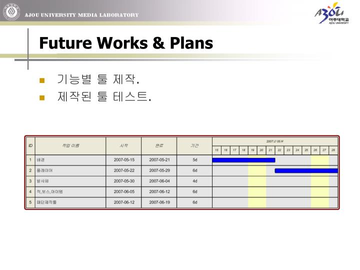 Future Works & Plans