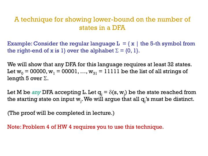 A technique for showing lower-bound on the number of states in a DFA