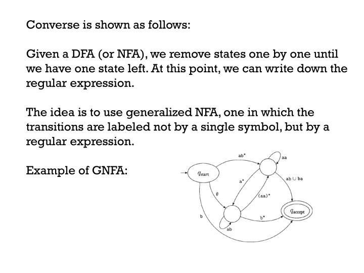 Converse is shown as follows: