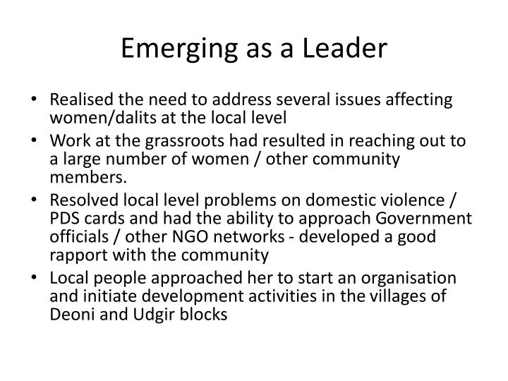 Emerging as a Leader