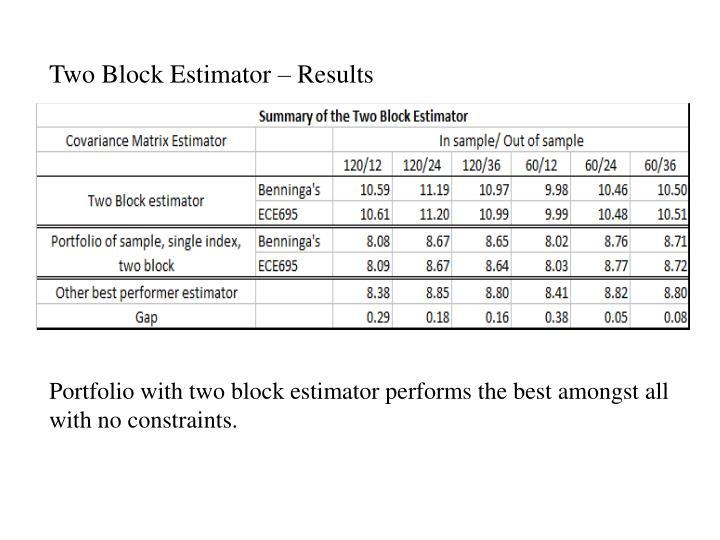 Two Block Estimator – Results