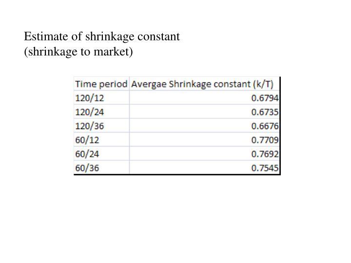 Estimate of shrinkage constant (shrinkage to market)