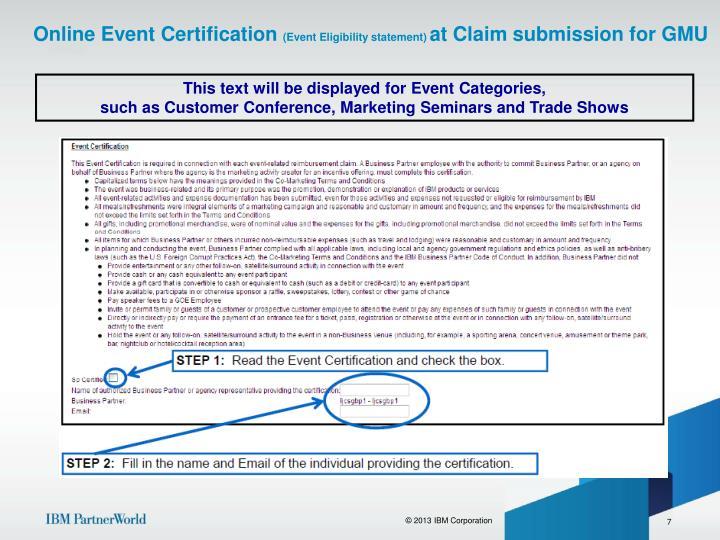 Online Event Certification