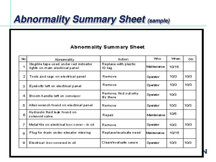 Abnormality Summary Sheet