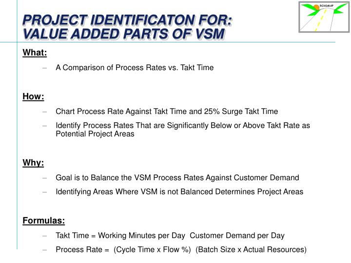 Project identificaton for value added parts of vsm