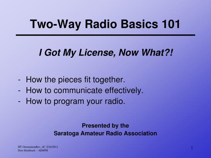 Two way radio basics 101