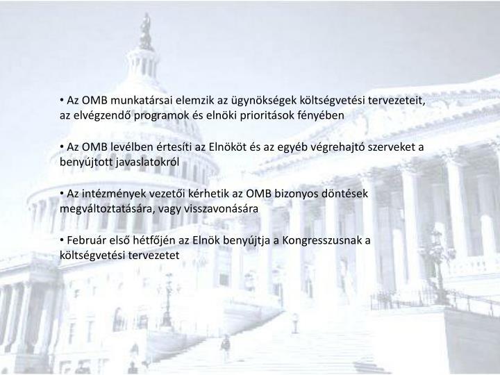 Az OMB munkatársai elemzik az ügynökségek költségvetési tervezeteit, az elvégzendő programok és elnöki prioritások fényében