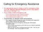 calling for emergency assistance