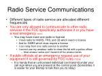 radio service communications