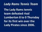 lady rams tennis team