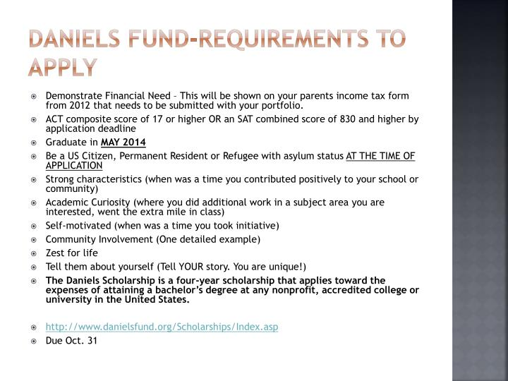 Daniels Fund-Requirements to Apply
