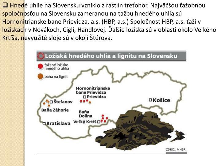 Hnedé uhlie na Slovensku vzniklo z rastlín treťohôr. Najväčšou ťažobnou spoločnosťou na Slovensku zameranou na ťažbu hnedého uhlia sú Hornonitrianske bane Prievidza, a.s. (HBP, a.s.) Spoločnosť HBP, a.s. ťaží v ložiskách v Novákoch, Cigli, Handlovej. Ďalšie ložiská sú v oblasti okolo Veľkého Krtíša, nevyužité sloje sú v okolí Štúrova.
