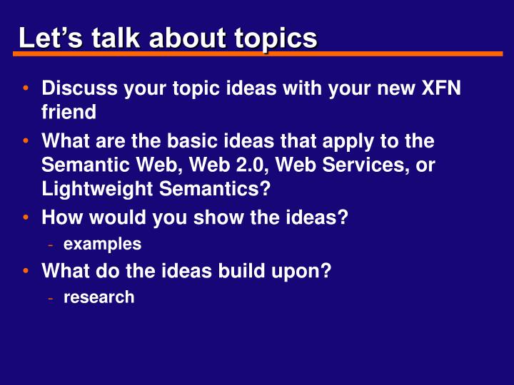 Let's talk about topics