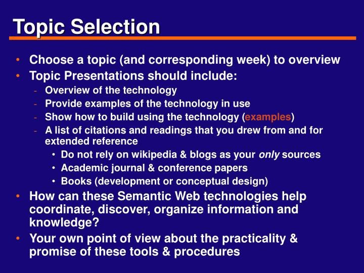 Topic Selection
