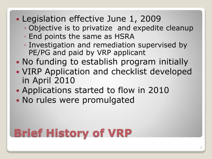 Brief history of vrp