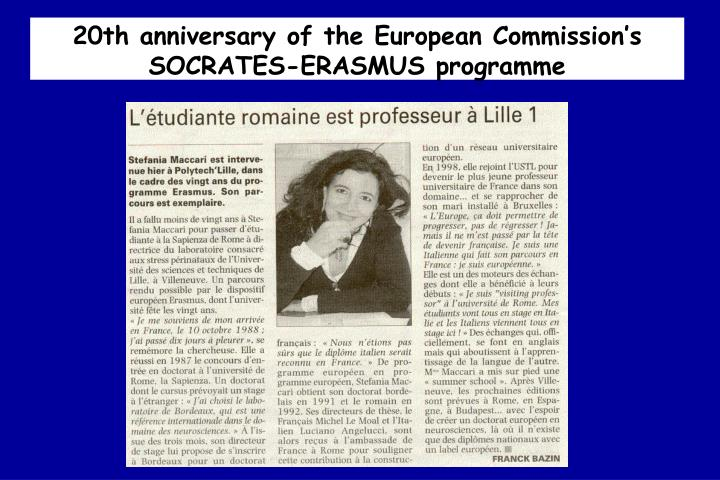 20th anniversary of the European Commission's SOCRATES-ERASMUS programme