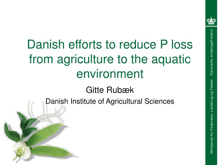 danish efforts to reduce p loss from agriculture to the aquatic environment n.