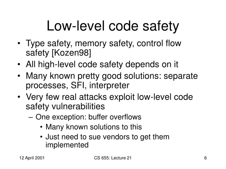 Low-level code safety
