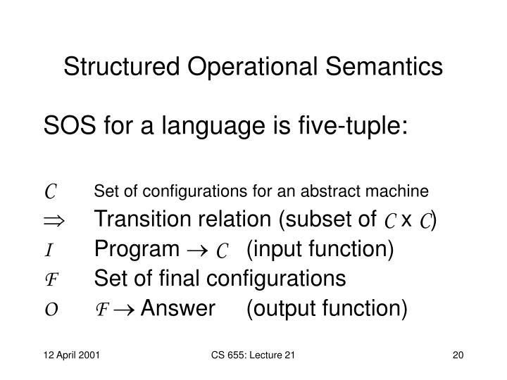 Structured Operational Semantics
