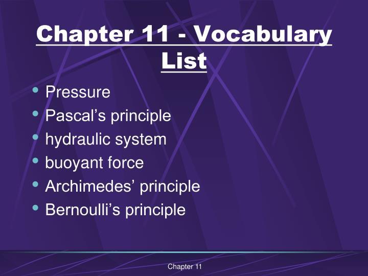 Chapter 11 - Vocabulary List