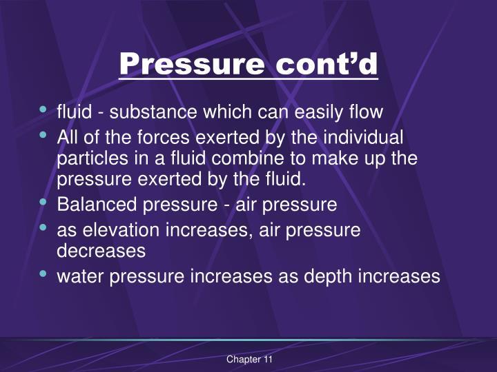 Pressure cont d