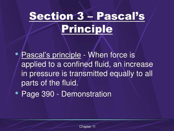 Section 3 – Pascal's Principle