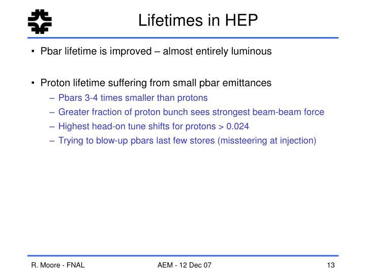 Lifetimes in HEP