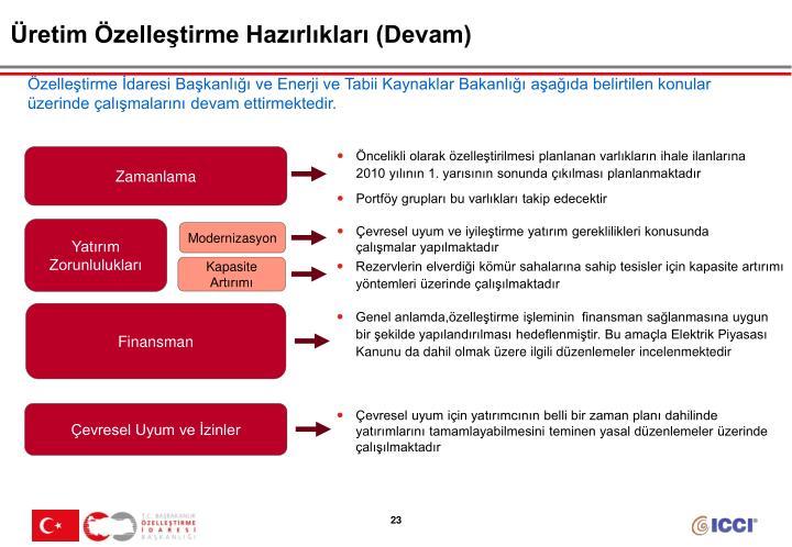 Üretim Özelleştirme Hazırlıkları (Devam)