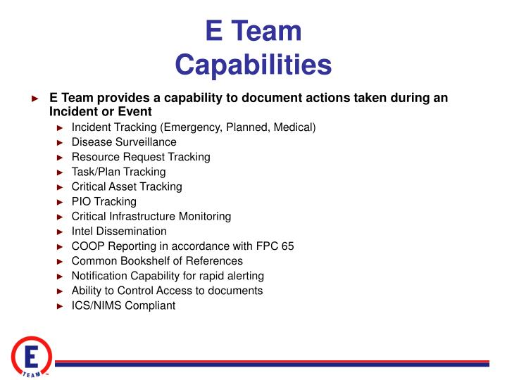 E team capabilities
