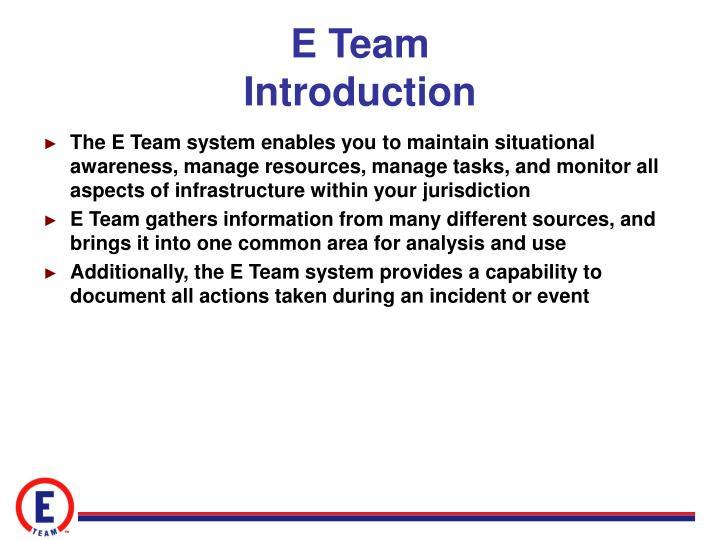 E team introduction
