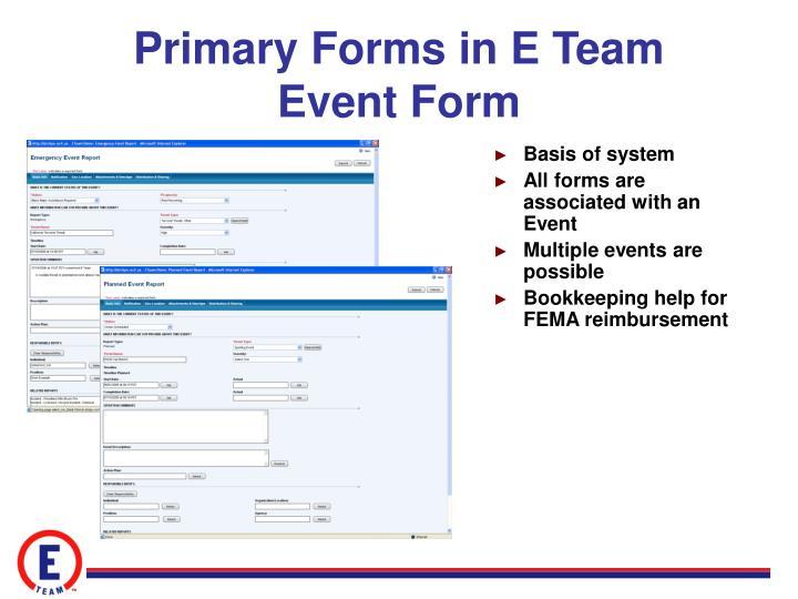 Primary Forms in E Team