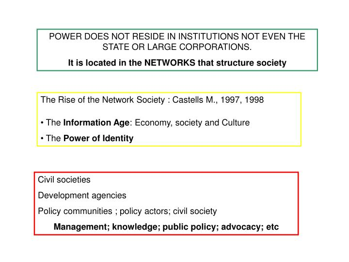 POWER DOES NOT RESIDE IN INSTITUTIONS NOT EVEN THE STATE OR LARGE CORPORATIONS.