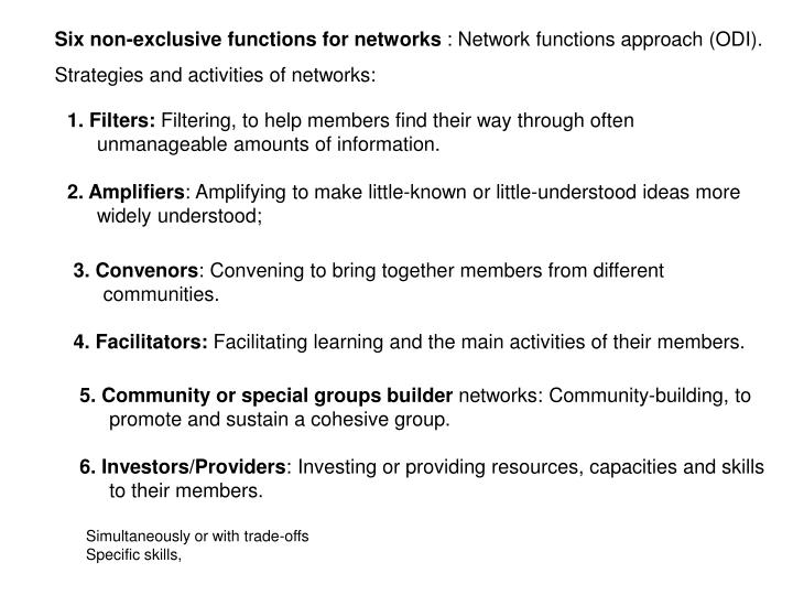 Six non-exclusive functions for networks