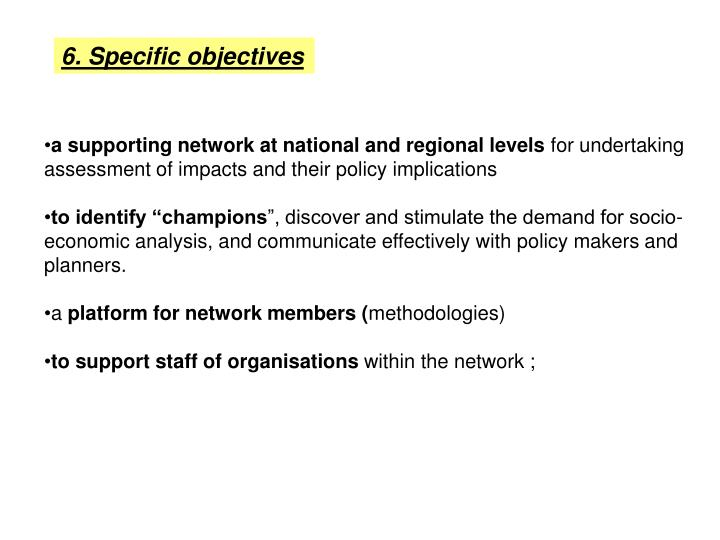 6. Specific objectives