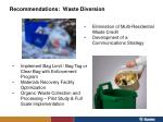 recommendations waste diversion