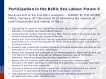 participation in the baltic sea labour forum 5